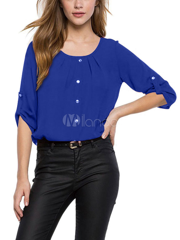 Women Chiffon Blouses Buttons Solid Color Three Quarter Sleeve Casual Top