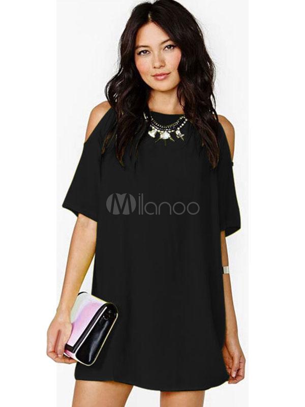 limitierte Anzahl Super Rabatt heiße neue Produkte Frauen Sommerkleid Halbarm Cut Cold Shoulder Chiffon Minikleid