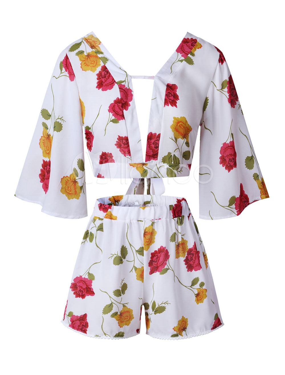 Buy Women Two Piece Set Floral Print V Neck Summer Top With Shorts for $18.69 in Milanoo store