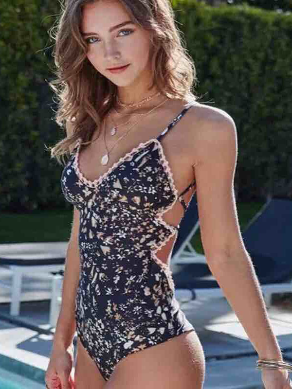 One Piece Swimsuit Straps Backless Ruffled Printed Sexy Bathing Suit