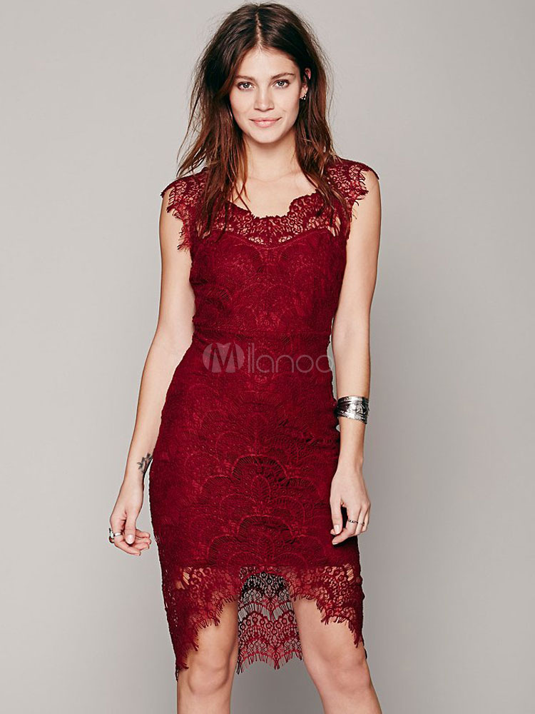 Women Lace Dress Round Neck Sleeveless Solid Color Shaping Summer Midi Dress
