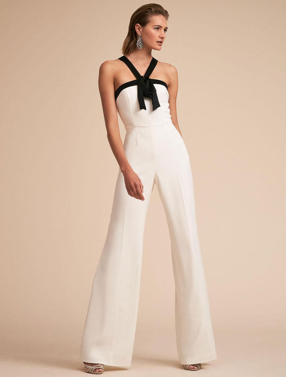 women white jumpsuit straps two tone backless long wide leg jumpsuit