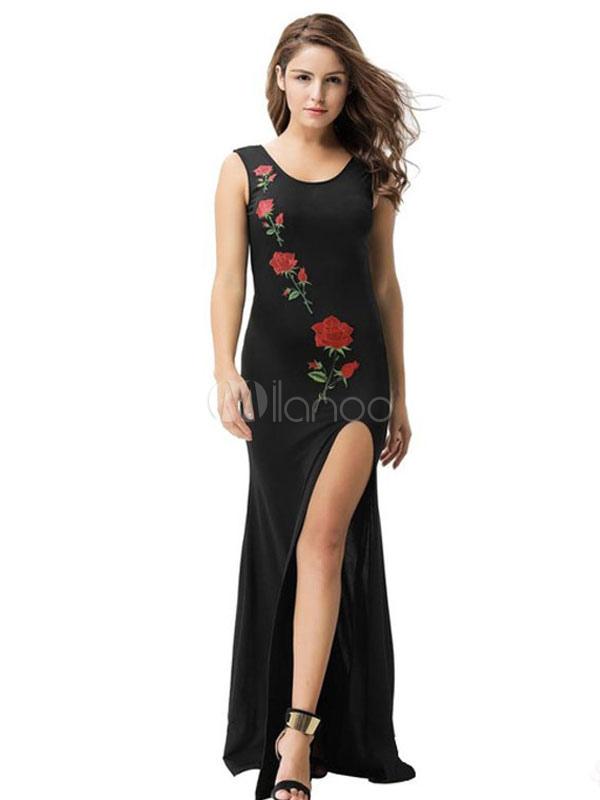 4ca58d577999 Vestido maxi negro sin mangas rosa bordado cuello redondo dividir largo  vestido de verano-No ...