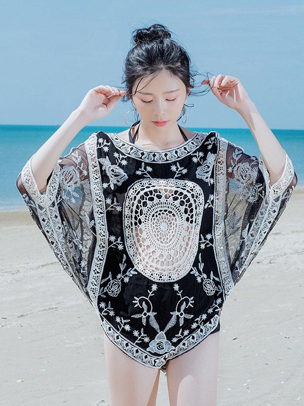 женщины черный обложка вязание крючком вышитая летняя пляжная одежда