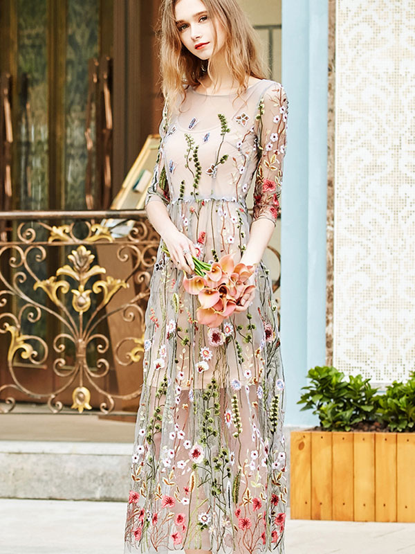 Buy Floral Maxi Dress Embroidered Tulle Round Neck Long Dress for $44.99 in Milanoo store