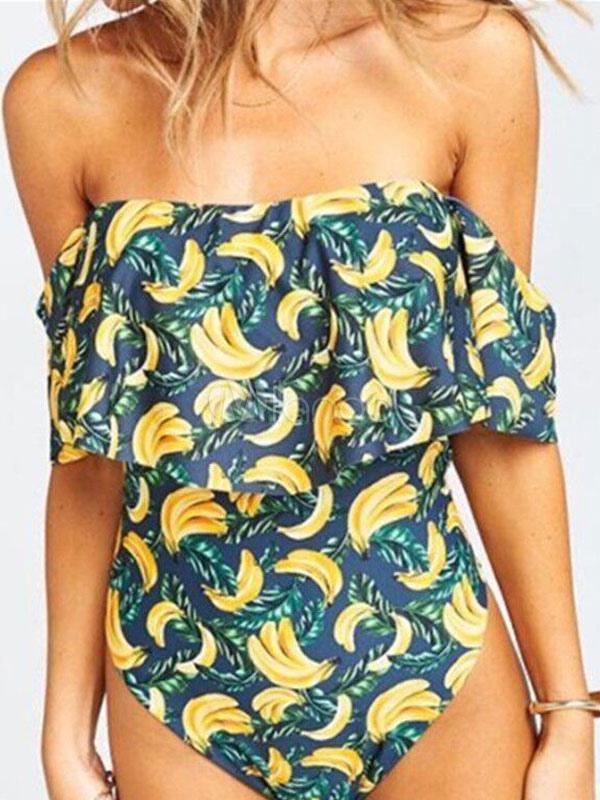 b8d2ff0988 One Piece Swimsuit Off The Shoulder Printed Short Sleeve Bardot Women  Swimwear-No.1 ...
