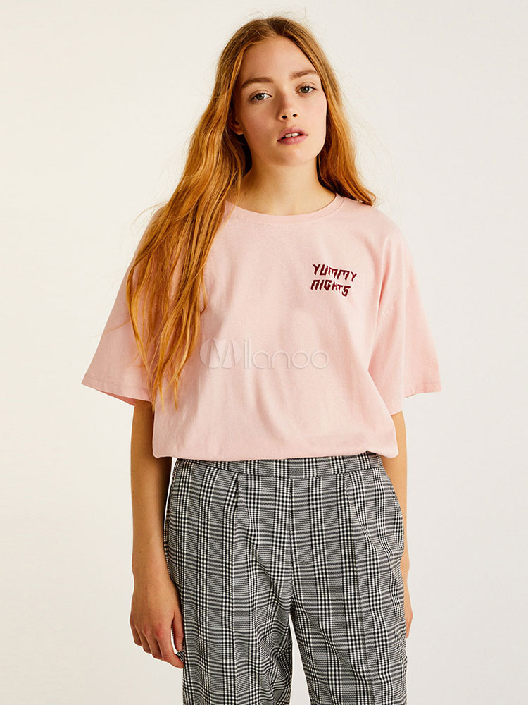 Women Pink T Shirt Letters Print Half Sleeve Crewneck Summer Top
