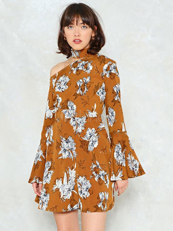 Buy Floral Mini Dress Bell Sleeve High Collar Asymmetrical Yellow Summer Dress for $33.29 in Milanoo store