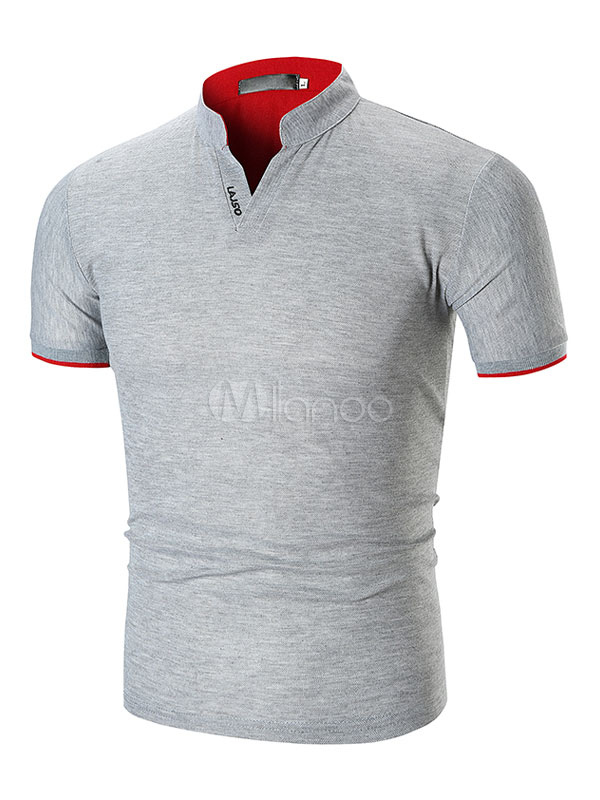 Men Polo Shirt Stand Collar Slim Fit Casual Short Sleeve T Shirt