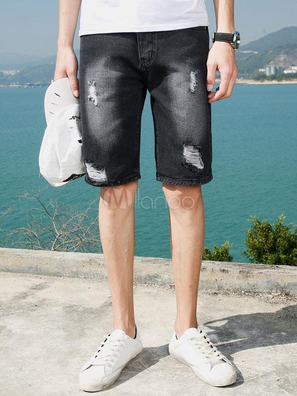 Pantalones Capri De Mangas Vaqueras Negras Denim Jeans Para Hombre Milanoo Com