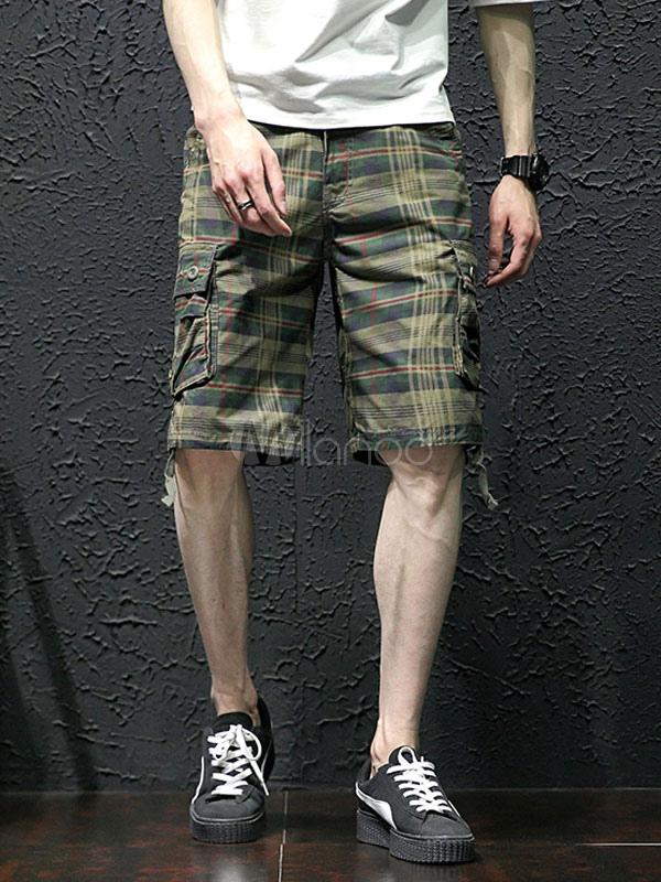 Cargo Shorts Men Plaid Print Capri Shorts Cotton Men Shorts Casual