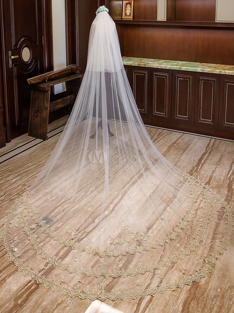 a9d20deca7 Catedral Velos de novia Cascada apliques de encaje 2 niveles largos Velos  de novia Accesorios para ...