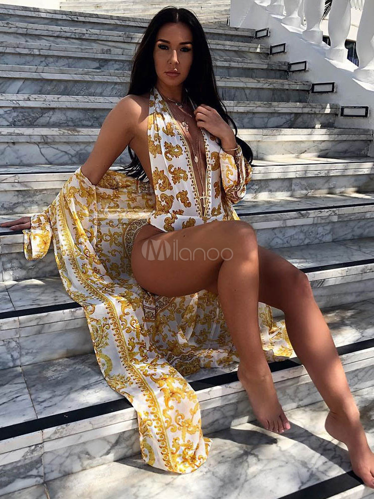 Women Sexy Swimsuit Plunging Neck Printed Yellow Swimwear With Cover Up
