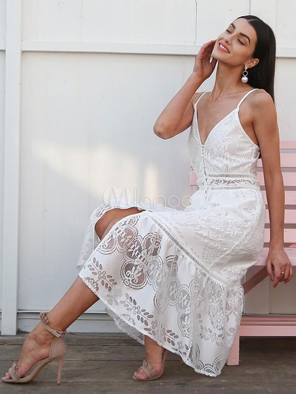 8329c6e4e054 ... White Summer Dress Sexy Long Dress Lace V Neck Straps Slip Dress-No.3  ...