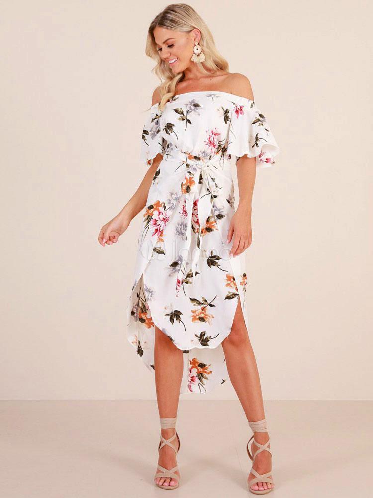 ca05f39b030 White Floral Dress Off The Shoulder Half Sleeve High Low Summer Bardot Dress -No.