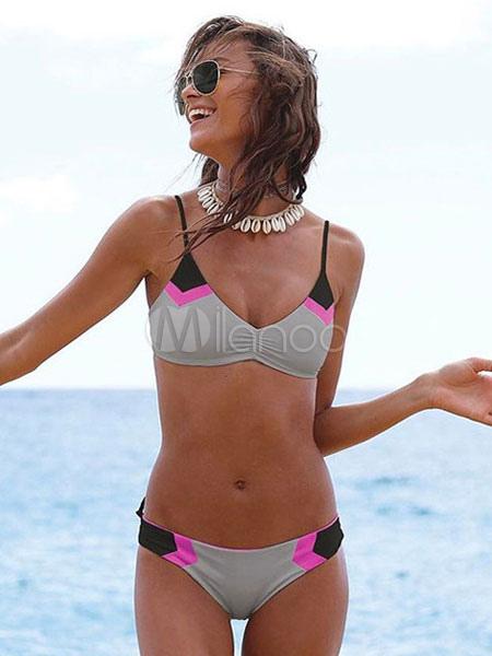 1e7dac86a795c Sexy Bikini Swimwear Straps Color Block Two Piece Swimsuit - Milanoo.com