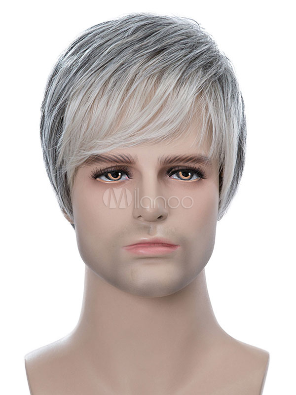 Human Hair Wigs Light Grey Tousled Short Straight Hair Wigs For Men