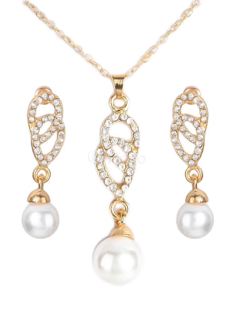 Buy Wedding Jewelry Set Pearl Rhinestone Pendant Necklace With Drop Earrings for $5.99 in Milanoo store