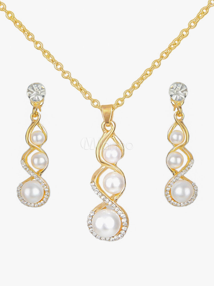 Buy Wedding Jewelry Set Pearl Gold Evening Pendant Necklace With Drop Earrings for $5.99 in Milanoo store