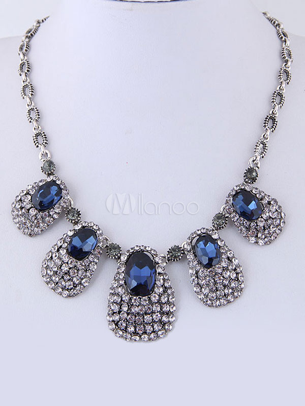 Buy Vintage Statement Necklace Silver Rhinestone Drop Pendant Necklace for $11.99 in Milanoo store