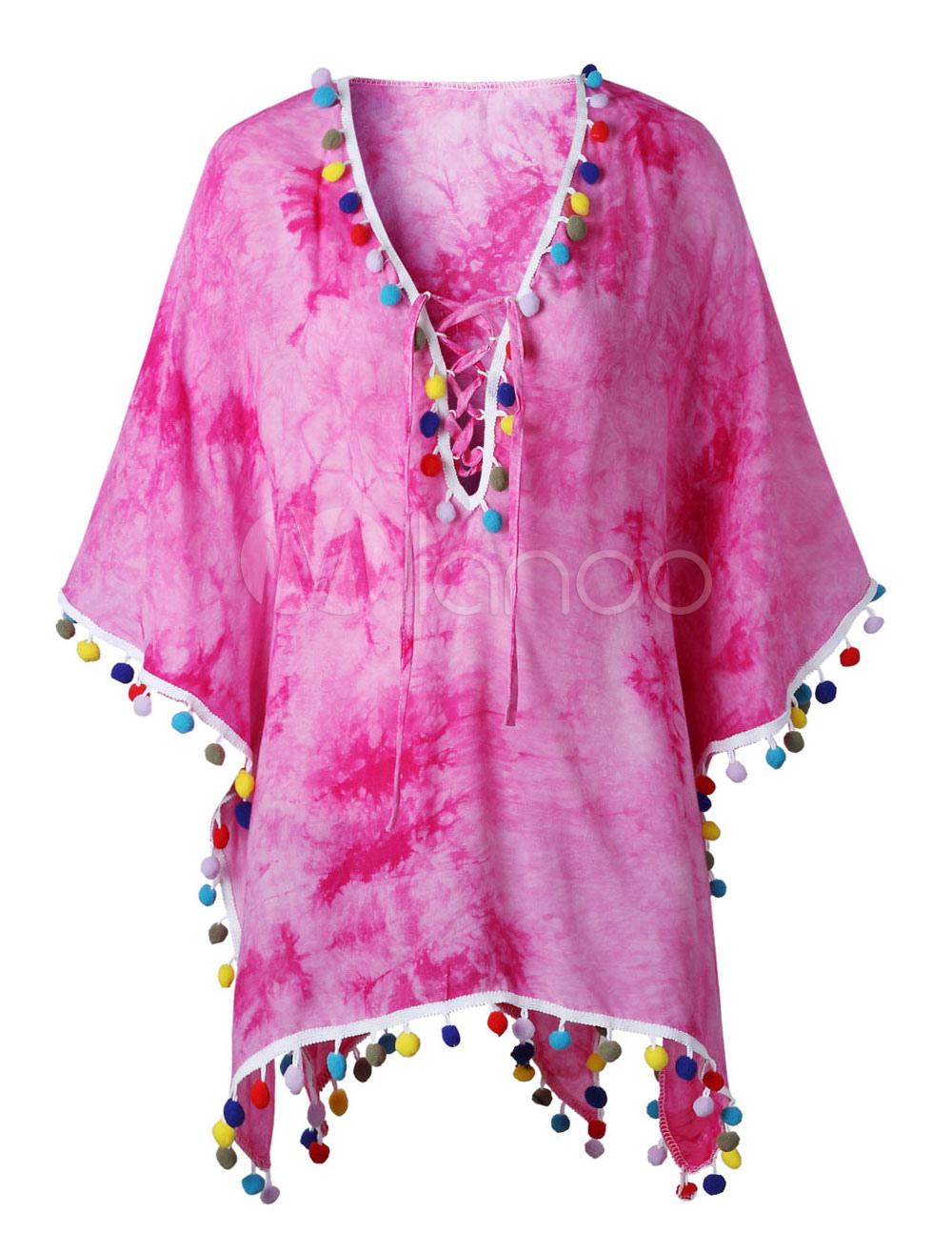 Buy Women Cover Up Oversized V Neck Pom Poms Tie Dye Pink Beachwear for $19.99 in Milanoo store