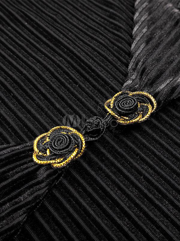 78ea953601eb4 ... ラテンダンスドレス黒の女性ロングスリーブベロアダンスコスチューム-No.5