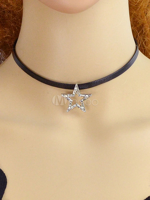 Buy Choker Necklace Star Pendant Necklace Leather Like Mother Day Gift Birthday Gift for $2.99 in Milanoo store
