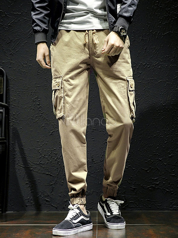 Buy Khaki Men Pant Cotton Cargo Pant Ankle Band Tapered Cotton Pant Casual for $27.99 in Milanoo store
