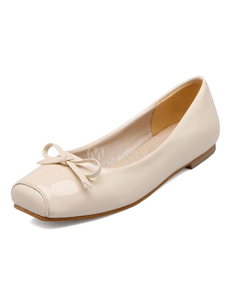Women Ballet Flats Ecru White Square Toe Bow Slip On Pumps