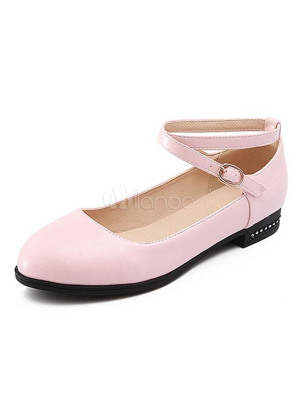 Zapatos planos de mujer Pink Flats planos Criss Cross tobillo correa plana cOeMOEjW8