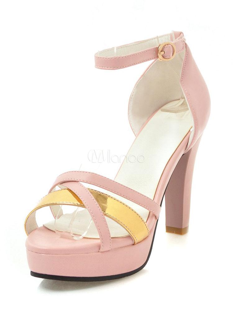 Buy High Heel Sandals Women Platform Open Toe Ankle Strap Sandal Shoes for $38.69 in Milanoo store