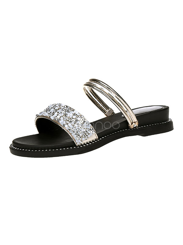 06e0a7ef8081 Women Flat Sandals Glitter Open Toe Backless Sandal Slippers-No.1 ...