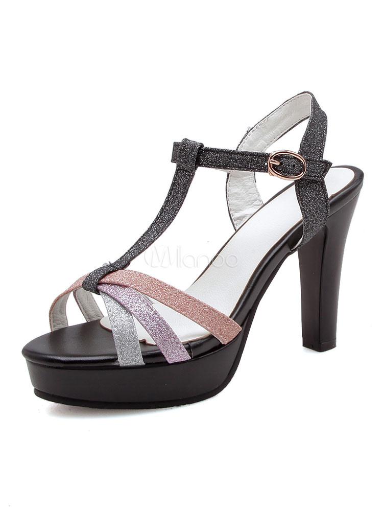Buy High Heel Sandals Glitter Open Toe T Type Buckle Detail Sandal Shoes For Women for $37.79 in Milanoo store