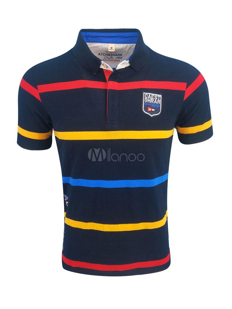 Men Polo Shirt Plus Size Summer Top Stripe Short Sleeve T Shirt Casual
