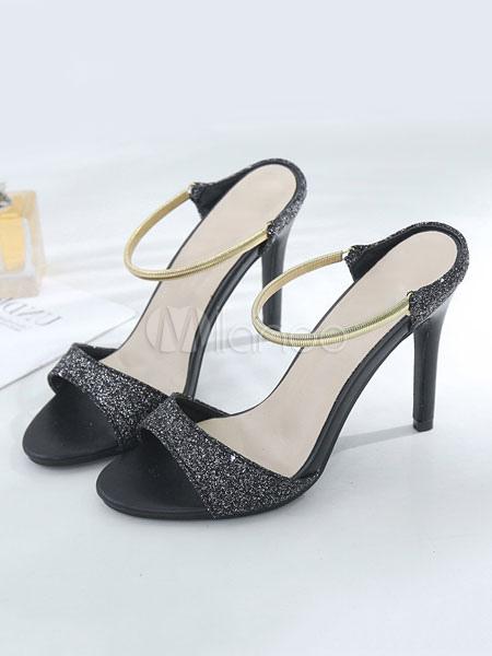 High Heel Sandals Glitter Open Toe Backless Sandal