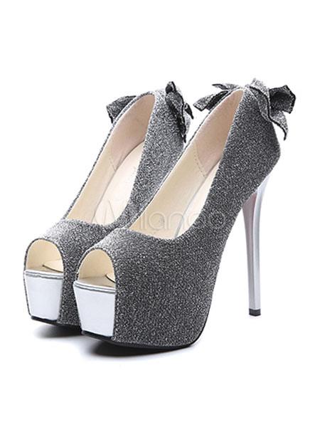 ae63b658b0e ... Black High Heels Glitter Peep Toe Platform Bow Slip On Pumps Women  Party Shoes-No ...