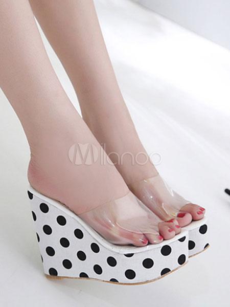 Descuento entrega rápida Comprar oferta a la venta Zapatillas sandalias negras con sandalias de mujer Zapatillas sandalias impresas con lunares de plataforma negra Sexy Sport Estilo de liquidación de moda tHjLYoVI