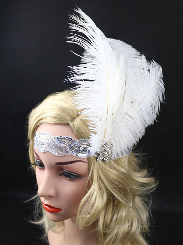 6381f0ae225ec Flapper Headband The Great Gatsby 1920s Costume White Feather Headpieces  Women Vintage Costume Accessories Halloween- ...