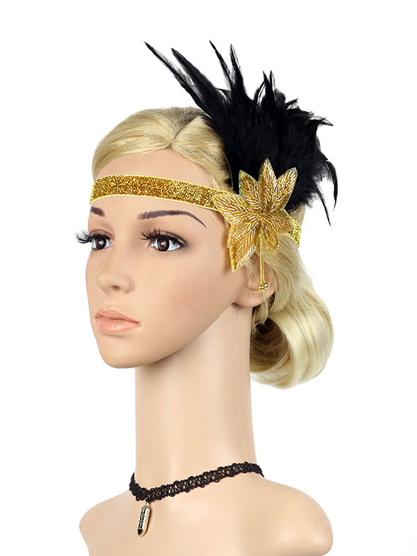 88a8027ebf630 Black Flapper Headband The Great Gatsby 1920s Costume Feather Headpieces  Women Vintage Costume Accessories Halloween- ...