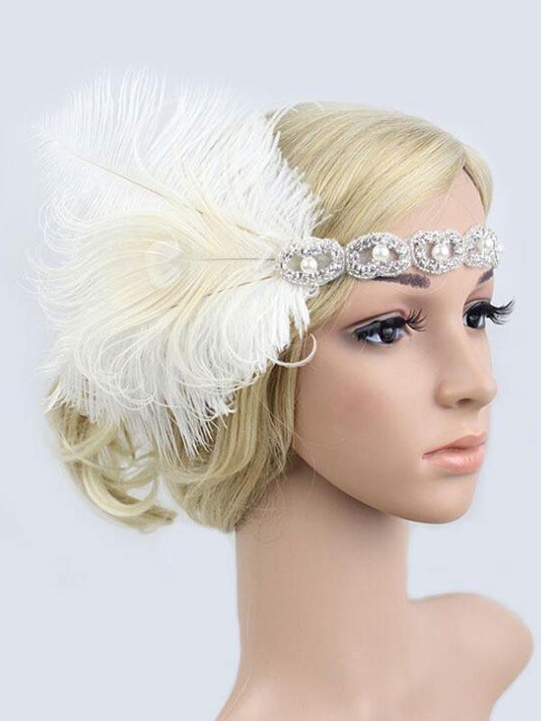 White Flapper Headband 1920s The Great Gatsby Costume Headpieces Feather  Women Vintage Accessories Halloween-No ... 11585e7b96a