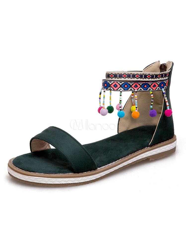 boho flachen sandalen 2018 frauen offene zehe zip up kn chelriemen sandale schuhe mit quasten. Black Bedroom Furniture Sets. Home Design Ideas