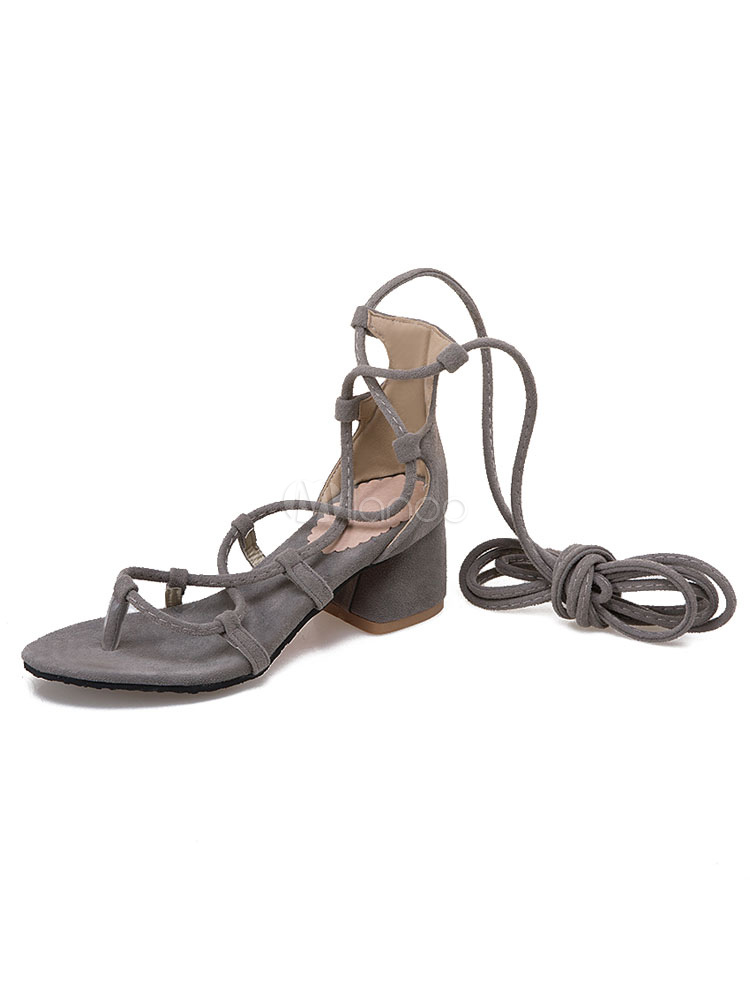 6de01adc18af Women Gladiator Sandals Grey Lace Up Sandal Shoes Suede Open Toe Chunky  Heel Strappy Shoes- ...