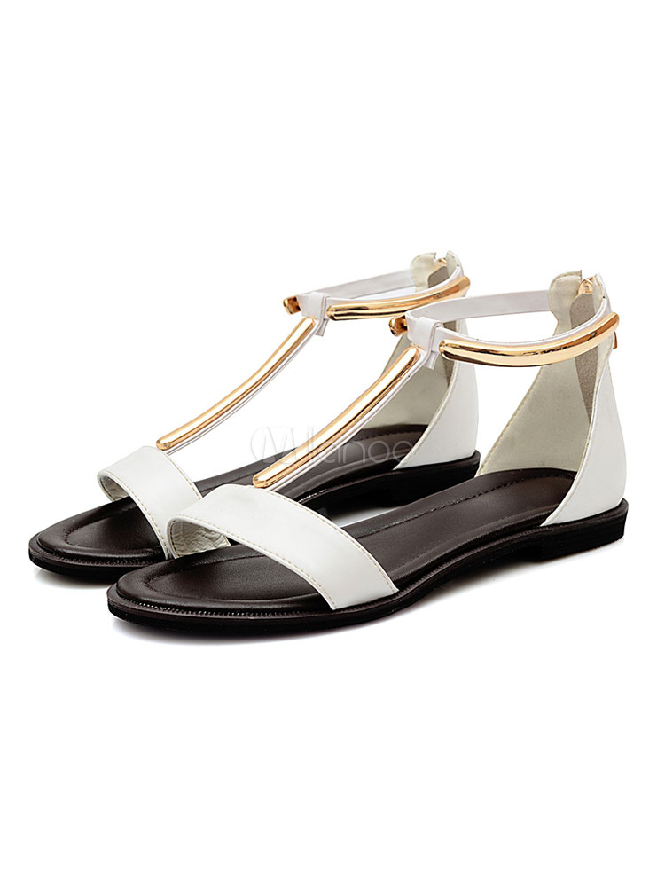 Buy Women Flat Sandals White Open Toe T Type Metal Detail Sandal Shoes for $43.19 in Milanoo store