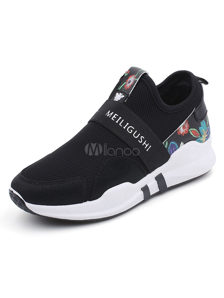 Black Women Sneakers Mesh Round Toe Floral Printed Sport Shoes
