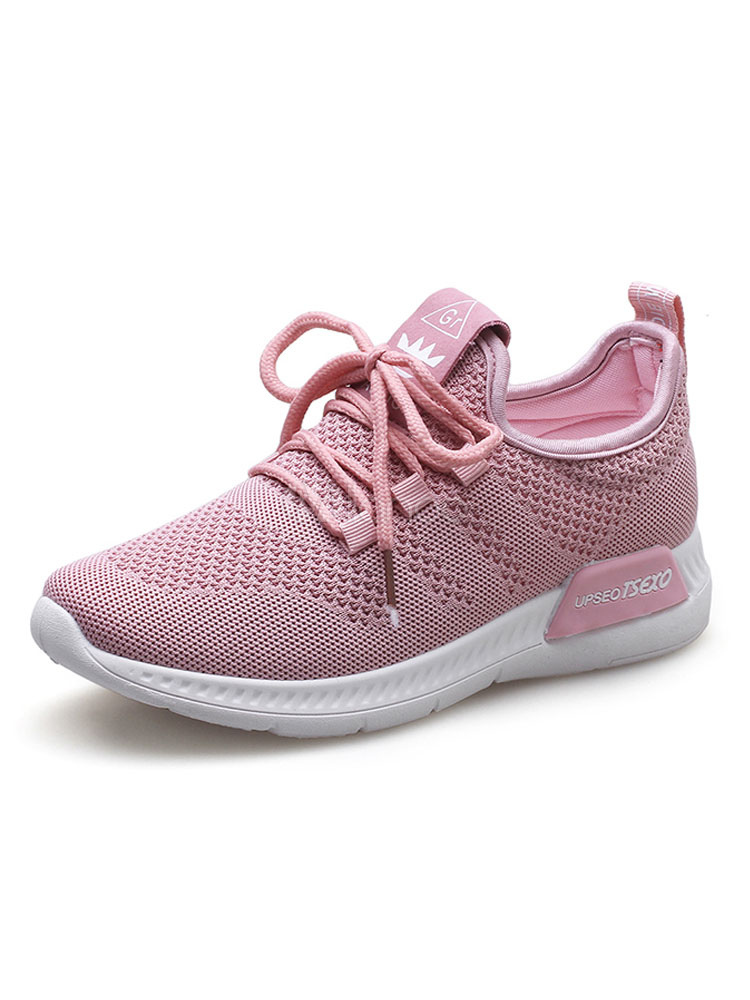 Women Sport Shoes Pink Sneakers Mesh Round Toe Lace Up Running Shoes