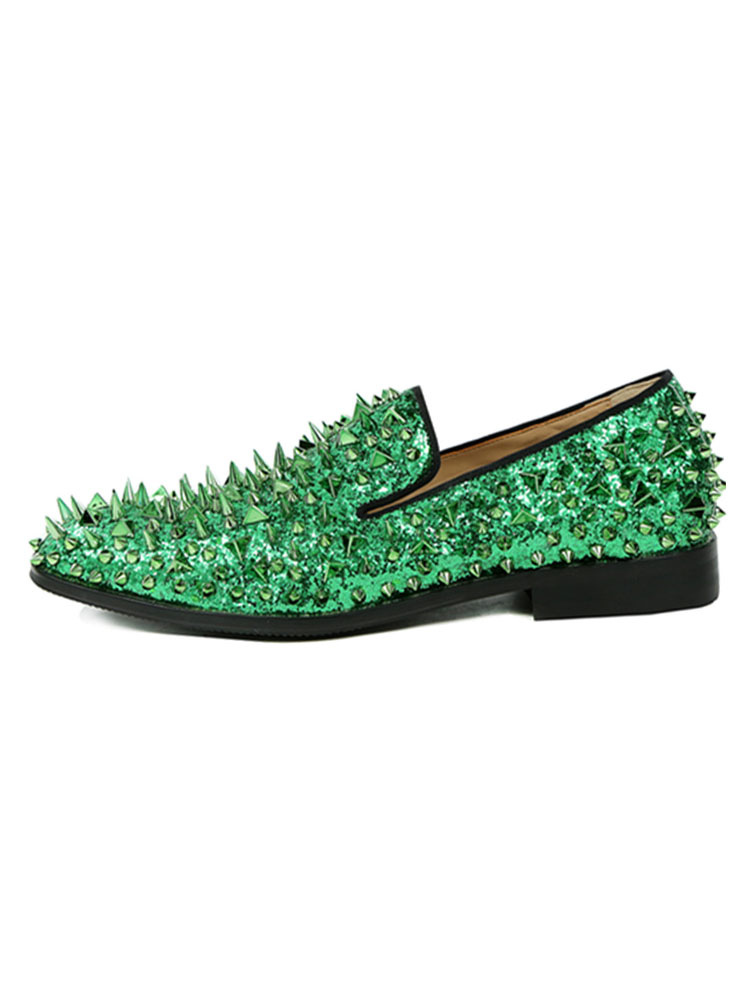 69c1596224e4 Men Blue Loafers Glitter Prom Shoes Round Toe Rivets Slip On Spike Shoes-No.
