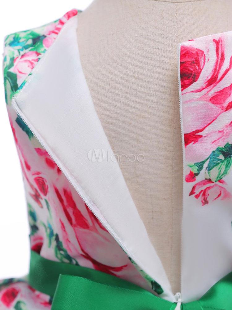 03aa3dd21 Flower Girl Dress Dark Green Floral Print Bow Sash Satin A Line Kids ...