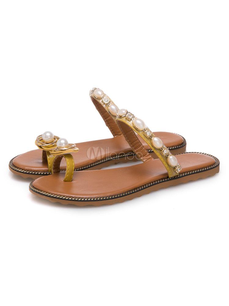 Women Flat Sandals Toe Loop Pearls Backless Slide Sandals