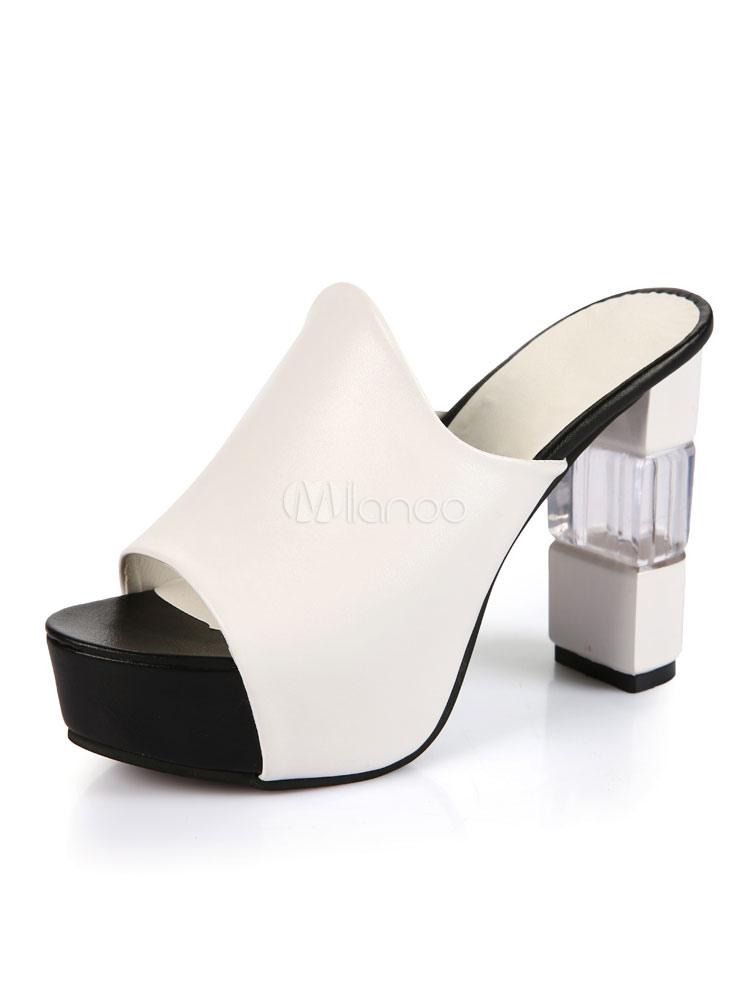 Zapatillas sandalia sin respaldo de la plataforma abierta de las sandalias del alto talón para las mujeres ylTFBWANZ