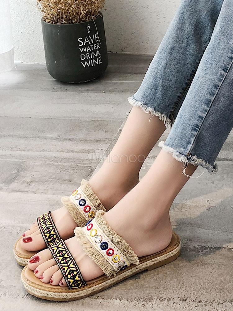 Sandalias con las respaldo planas respaldo las mujeres las de las planas de Sandalias Boho sin sin borlas sandalias sandalias de de v6ExUwnwBq